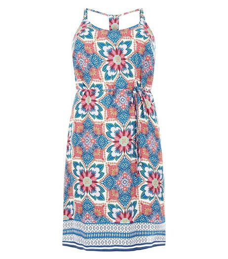 Curves Blue Tile Print Slip Dress | New Look