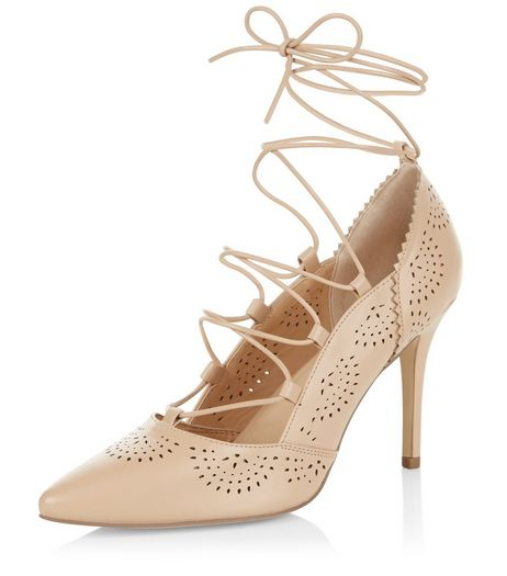 Camel Laser Cut Out Pointed Ghillie Heels  | New Look