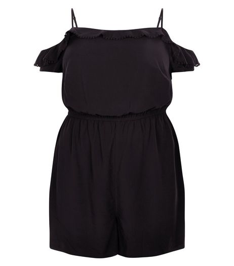 Curves Black Frill Cold Shoulder Playsuit | New Look