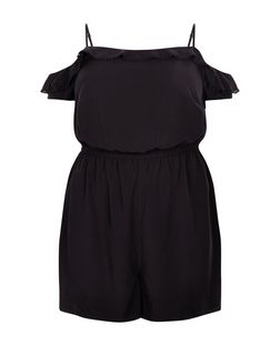 Plus Size Black Frill Cold Shoulder Playsuit | New Look
