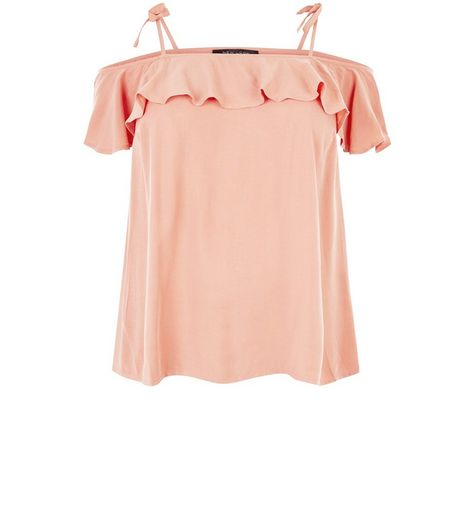 Curves Mid Pink Frill Cold Shoulder Top | New Look