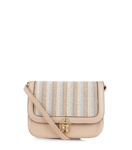 Stone Metallic Stripe Across Body Bag | New Look