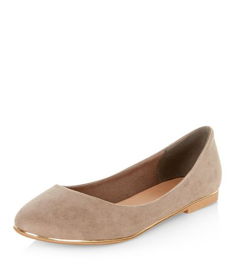 Light Brown Metal Trim Ballet Pumps  | New Look
