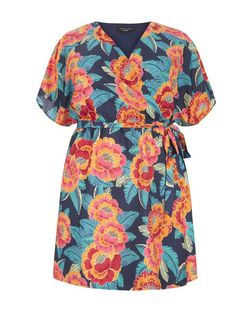 Curves Blue Tropical Print Wrap Dress | New Look