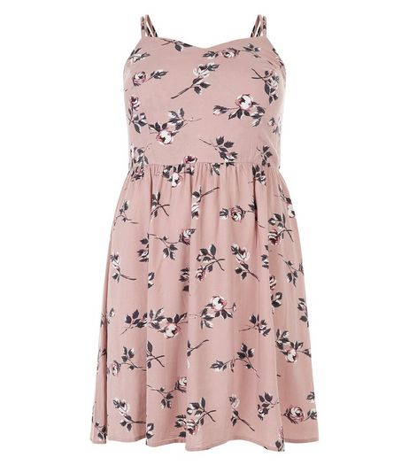 Curves Pink Floral Print Strappy Dress | New Look