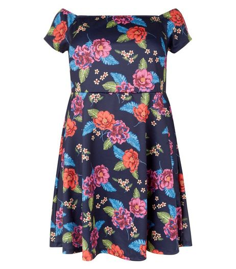 Curves Navy Floral Print Bardot Neck Dress | New Look