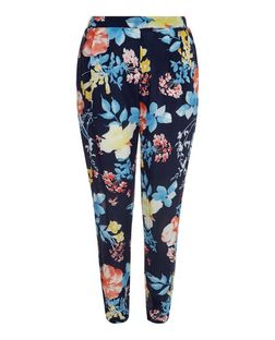 Parisian Navy Floral Print Trousers  | New Look