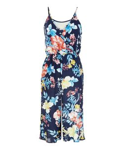 Parisian Navy Floral Print Culotte Jumpsuit | New Look