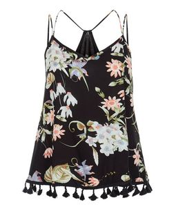 Parisian Black Floral Print Tassel Trim Cami  | New Look
