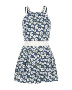 Parisian Blue Daisy Print Crochet Panel Playsuit | New Look