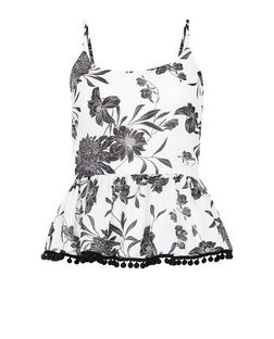 Parisian Black Floral Print Peplum Cami | New Look