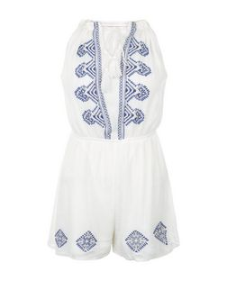 Parisian Blue Embroidered Playsuit | New Look
