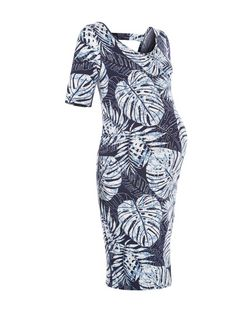 Maternity Blue Tropical Print Cut Out Back Dress | New Look