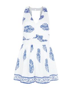 Parisian Blue Tile Print Cut Out Back Playsuit | New Look