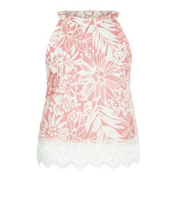 Parisian Coral Tropical Print Crochet Hem Vest | New Look
