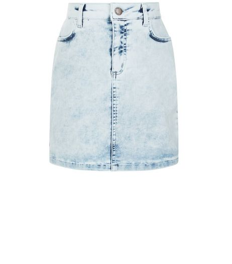 Teens Blue Acid Wash Denim Skirt | New Look