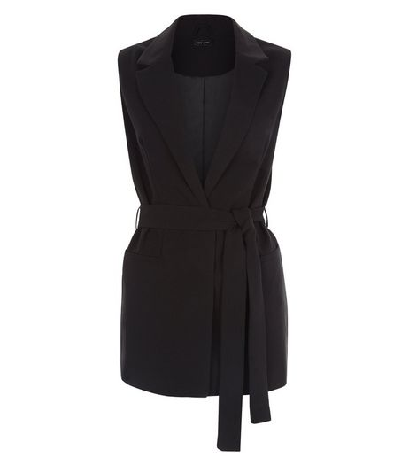 Black Tie Waist Sleeveless Blazer  | New Look