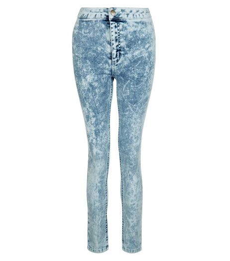 Teens Blue Acid Wash High Waist Super Skinny Jeans | New Look