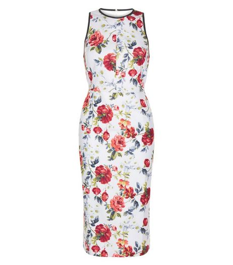 White Floral Print Sleeveless Midi Dress  | New Look