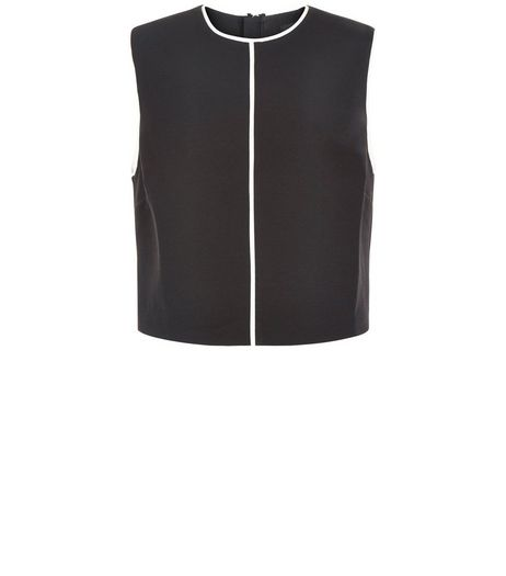 Black Contrast Trim Sleeveless Top  | New Look