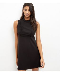 Black Frill Trim Sleeveless Dress  | New Look