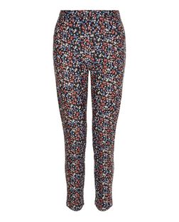 Pink Ditsy Floral Bengaline Slim Leg Trousers | New Look