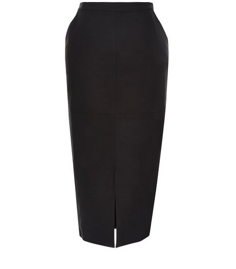 Black Stretch Split Front Pencil Skirt  | New Look