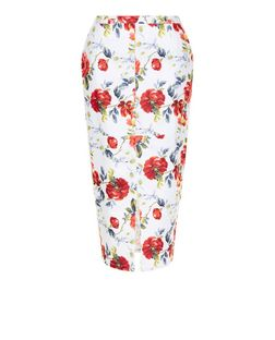 White Floral Print Split Front Midi Skirt  | New Look