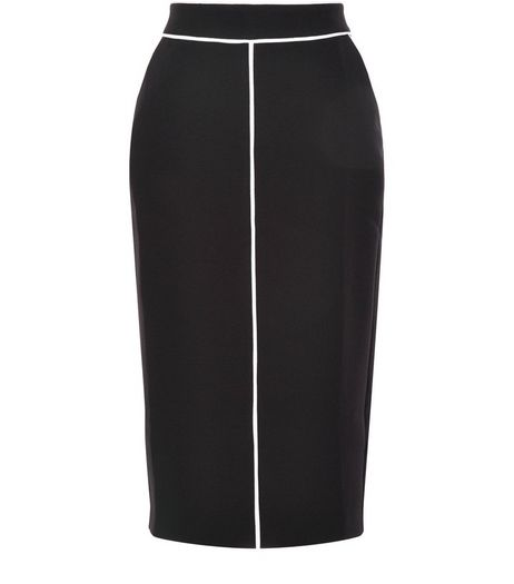 Black Contrast Trim Pencil Skirt  | New Look
