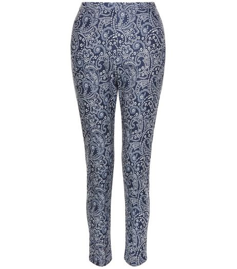 Blue Paisley Print Bengaline Slim Leg Trousers  | New Look