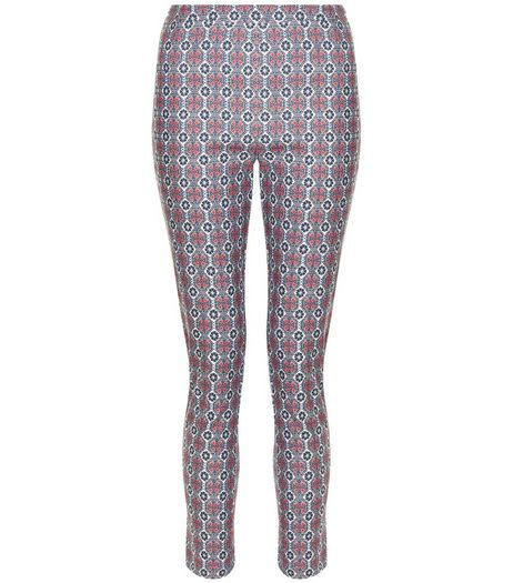 White Tile Print Bengaline Slim Leg Trousers  | New Look