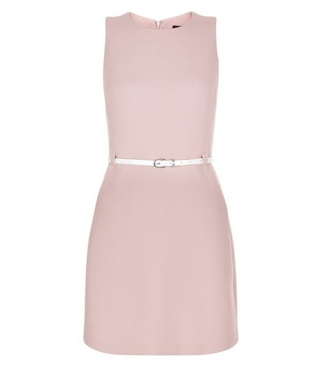 Mid Pink Belted Mini Dress  | New Look
