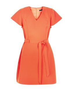 Bright Orange Tie Waist Flutter Sleeve Dress  | New Look