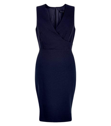 Navy Wrap Front Pencil Dress  | New Look