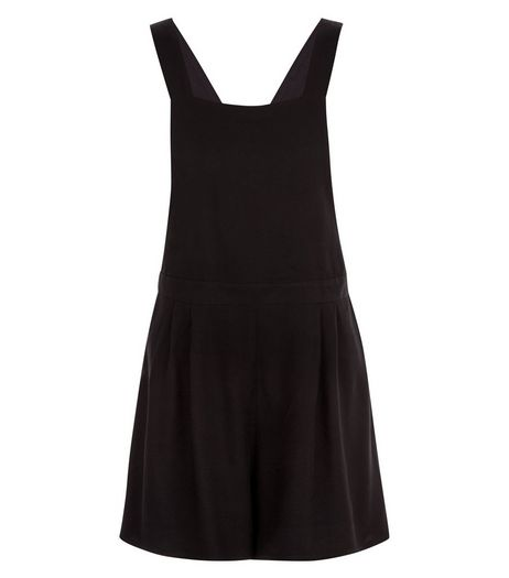 Black Pinafore Playsuit  | New Look
