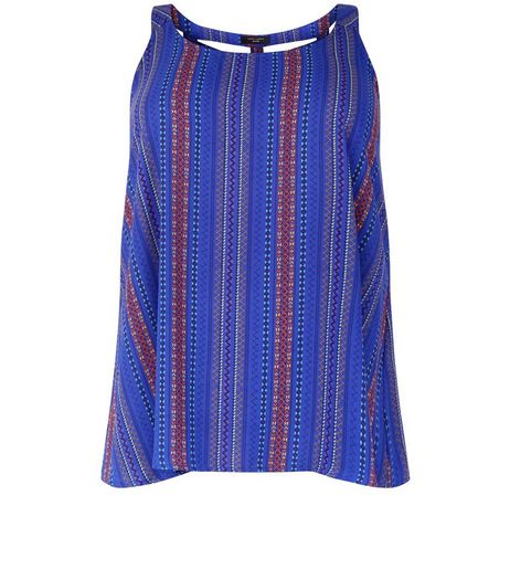 Curves Blue Aztec Stripe Lattic Back Shell Top | New Look