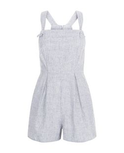 Navy Linen Mix Knot Strap Playsuit  | New Look