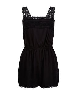 Black Lace Trim V Back Playsuit  | New Look
