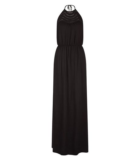 Black Crochet Panel Halter Neck Maxi Dress  | New Look