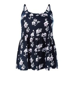 Plus Size Black Floral Print Peplum Cami | New Look