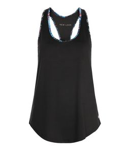 Black Abstract Print Trim Sports Vest  | New Look