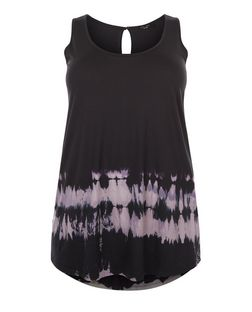 Plus Size Black Tie Dye Keyhole Back Vest  | New Look