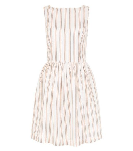 White Stripe Button Back Skater Dress  | New Look