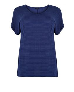 Curves Navy Space Dye Print V Neck T-Shirt | New Look