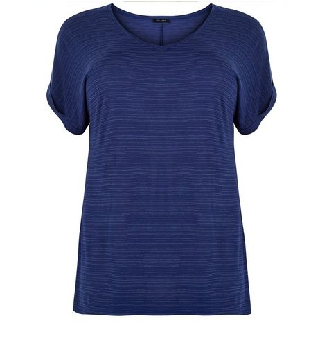 Curves Navy Space Dye V Neck T-Shirt | New Look