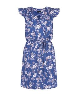 Blue Floral Print Frill Sleeve Wrap Front Dress  | New Look