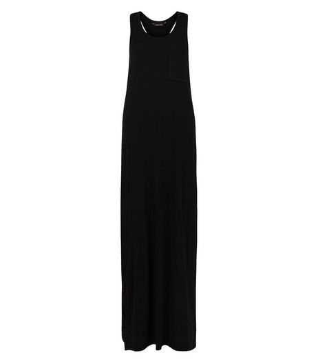 Black Single Pocket Sleeveless Maxi Dress | New Look