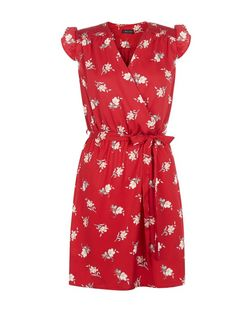 Red Floral Print Frill Sleeve Wrap Dress | New Look