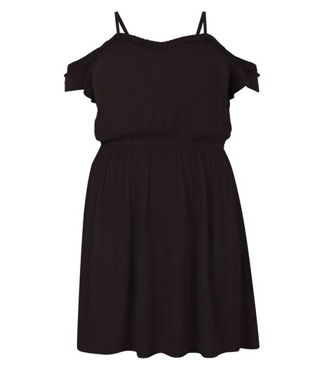 Curves Black Frill Cold Shoulder Dress  | New Look