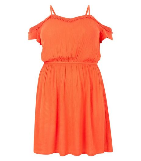 Curves Orange Frill Cold Shoulder Dress | New Look